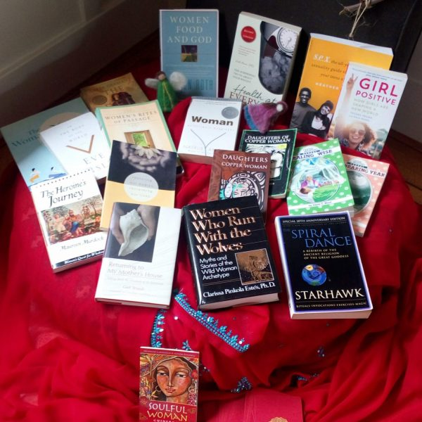Many books on womanhood offered to our participants.